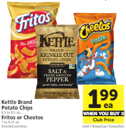 Kettle Brand and Frito Lay Chips, Pay as Low as $1.99