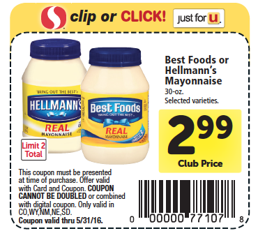 Save $1 off any One Hellmann's or Best Foods Real Mayonnaise Coupon! You can Also Follow Us On Facebook, Twitter, Pinterest and Google+ for 24 hour freebie updates and more! More From Hunt4Freebies. $ ONE FREE Chocolate Frosted Flakes Cereal w/purchase ANY 3 Kellogg's Cereals Coupon;.
