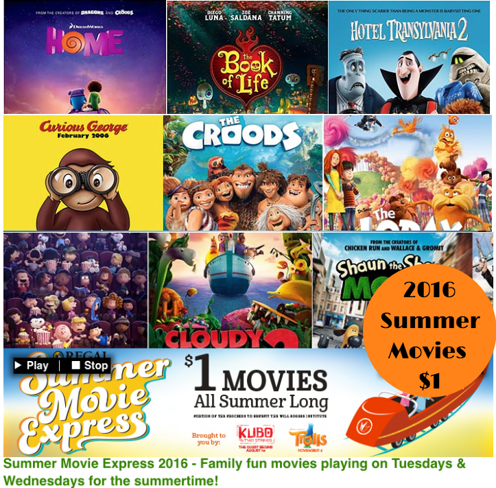 1 Movies Summer 2016 Kids Movies For 1 At Regal