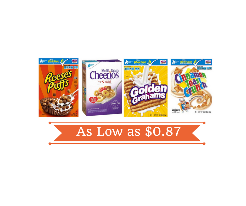 General Mills Cereal Coupons, Pay As Low As $0.87