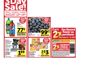 New 3 Day Sale at Safeway 8/12 – 8/14