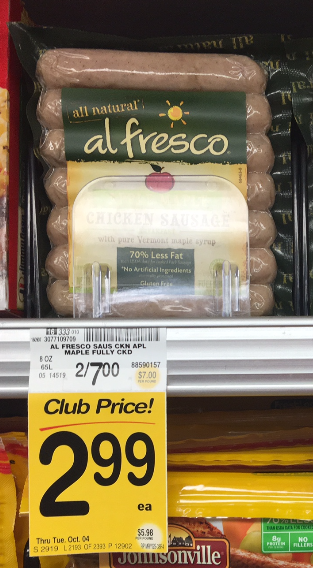 Al Fresco Coupon, Pay $1.99 for Sausage
