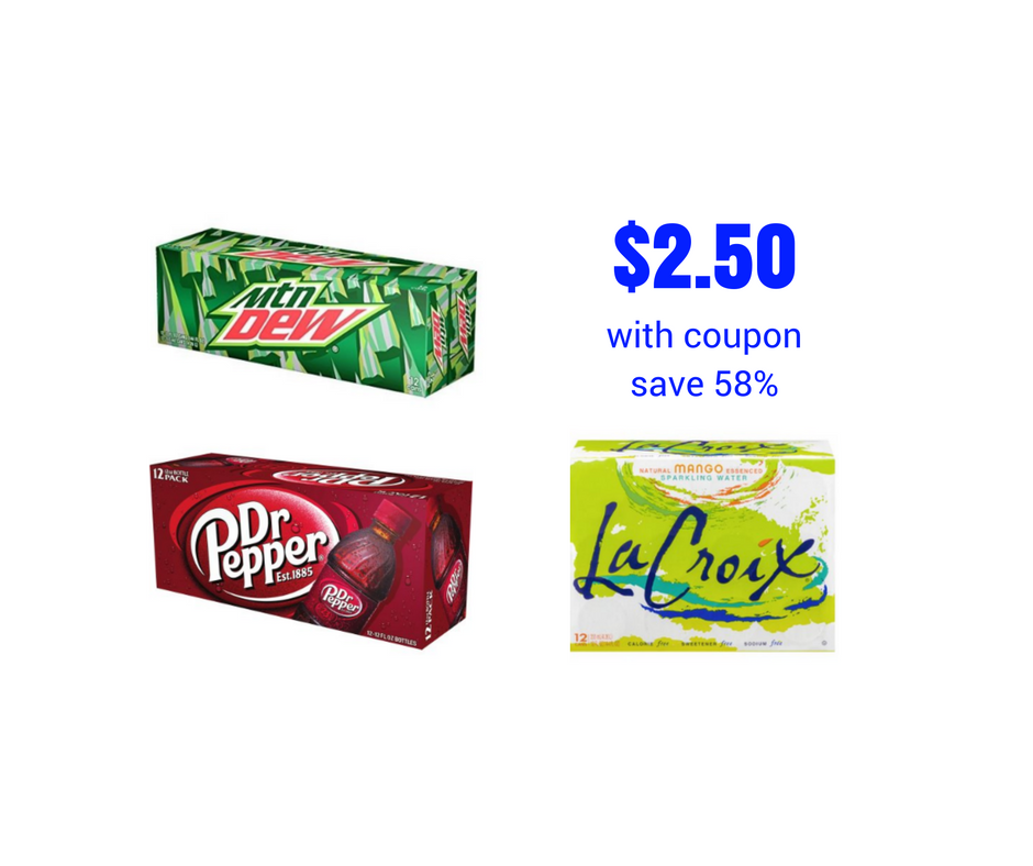 LaCroix, Dr. Pepper, Mountain Dew 12 Packs - Save Up to 58%