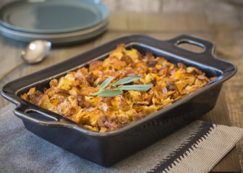 Savory Breakfast Strata With Croissants and Sausage