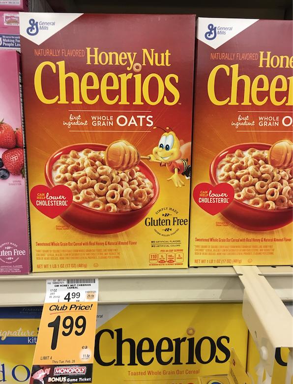 general mills honey nut cheerios cereal big box on sale