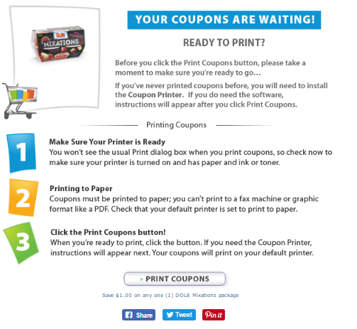 Dole Mixations Coupons