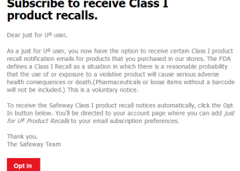 Product Recalls at Safeway – Sign up Now