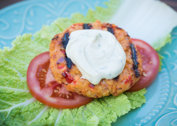 Grilled Salmon Burgers Recipe With Lemon Chive Aioli Sauce