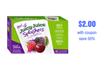 Juicy Juice Splashers Juice Pouches 10 Packs Just $2.00 With Coupon at Safeway