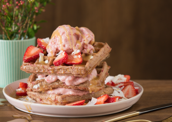 Homemade Strawberry & Coconut Waffle Stacks – Perfect for Mother's Day