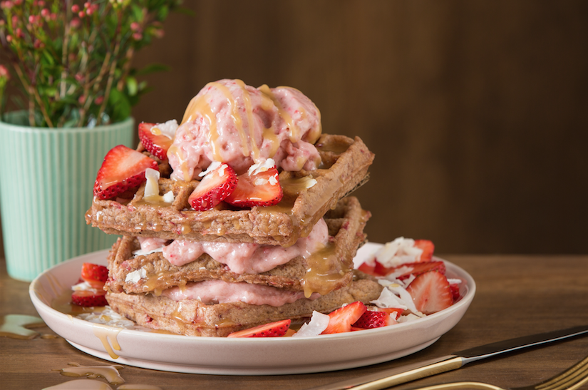 strawberry & coconut Waffles