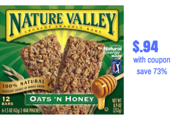 Save 73% on Nature Valley Granola Bars Only $.94 With Coupon!
