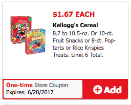 Kellogg's Cereal as Low as $1.17