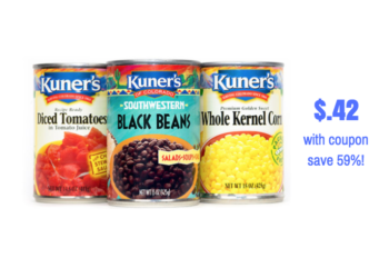New Kuner's Canned Beans, Tomatoes and Veggies Coupon – Pay Just $.42 Each