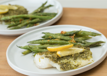 One Pan Pesto Cod With Parmesan Green Beans Recipe