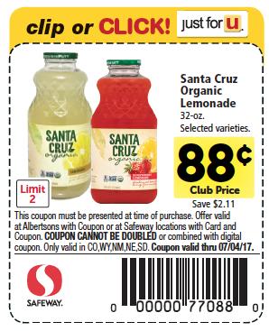 santa cruz organic lemonade coupon