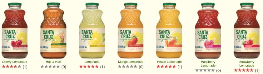 santa cruz organic lemonade flavors