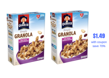 Quaker Granola Just $1.49 With 50% off Quaker Sale and Coupon – Save 70%
