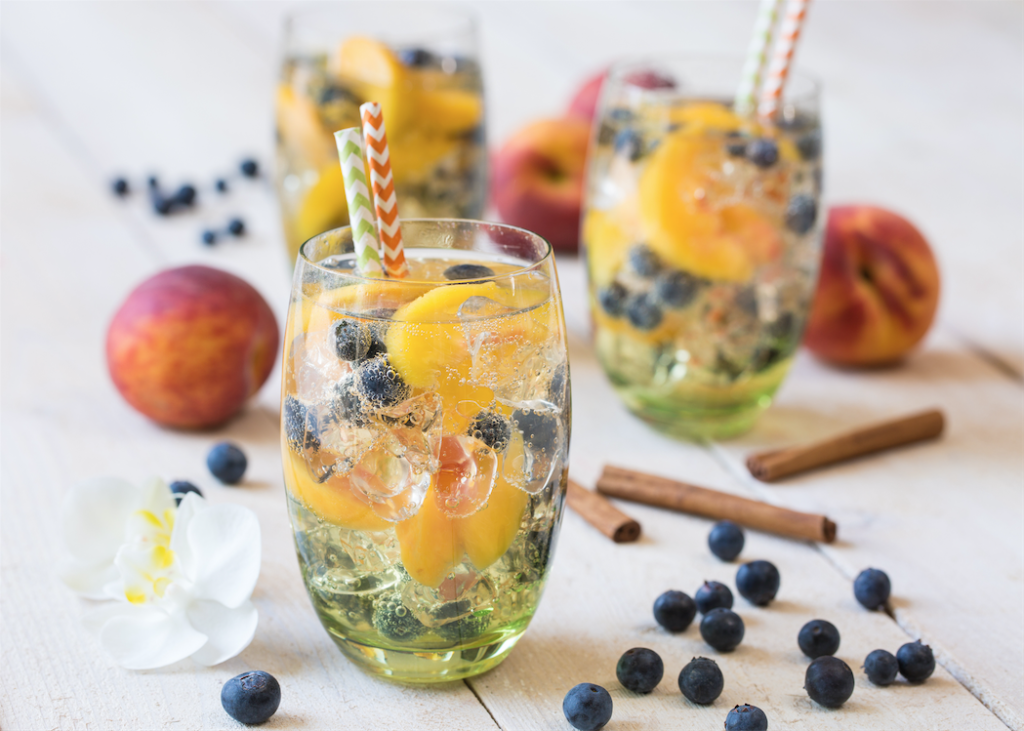 sparkling blueberry peach refresher