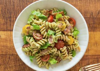 BLT Pasta Salad With Avocado Dressing