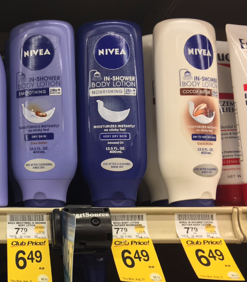 NEW Nivea Coupon, Pay $4.49 for In-Shower Body Lotion - Super Safeway
