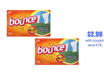 Bounce Fabric Sheets 105 Ct. Just $2.99 With Sale and Coupon (Reg. $6.99, Save 57%)
