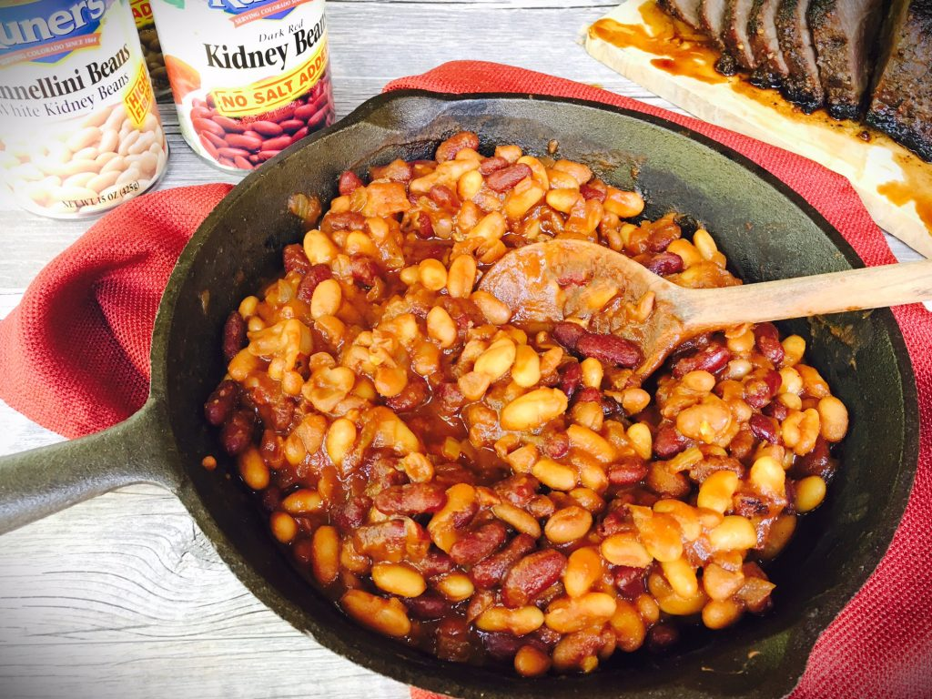 sweet & smoky BBQ baked beans in cast iron skillet