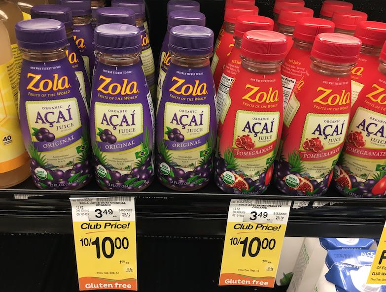 zola organic acai juice