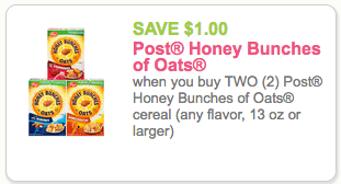 $1.00 off 2 Honey Bunches of Oats Coupon