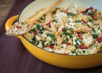 Sun-dried Tomato & Feta Greek Quinoa Skillet Dish