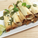 Baked Hatch Chile Breakfast Taquitos With Salsa Verde