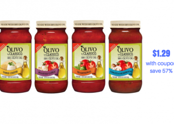 Classico Olivo Pasta Sauce Just $1.29 Each With Sale and Coupon