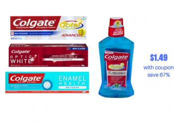 Colgate Optic White, Total and Enamel Health Toothpaste and Mouthwash $1.49 With Coupon, Save 67%