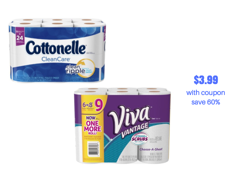 Cottonelle Bath Tissue And Viva Paper Towels Just 3 99 At