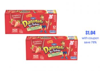 New Danimals Yo-Tubes Coupon Stack, Pay Just $1.04 for 12 Yogurt Tubes