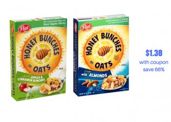 Post Honey Bunches of Oats Coupons and Sale at Safeway, Pay $1.38, Save 66%