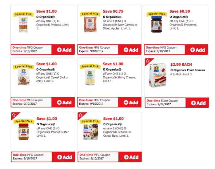o organics coupons