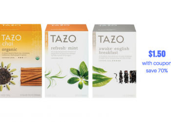 New Tazo Tea Coupon and Sale – Pay just $1.50 for Tazo Tea 20 ct. Bags