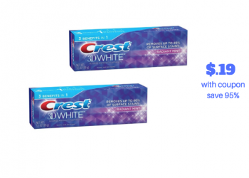 Crest 3D White Toothpaste Just 19¢ at Safeway With New $2 Crest Coupon
