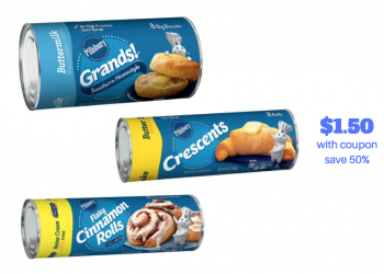 Pillsbury Grands Biscuits, Cinnamon Rolls and Crescent Rolls Just $1.50 With Coupon and Sale
