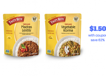 TASTY BITE Coupon, Only $1.50 for Vegetarian Entrees