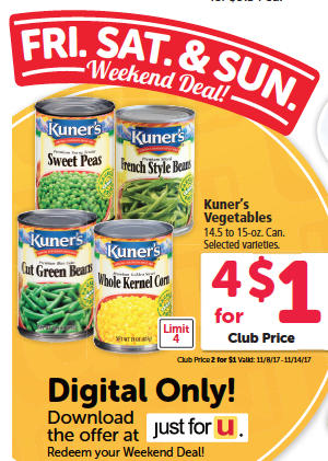 kuners canned veggies $.25
