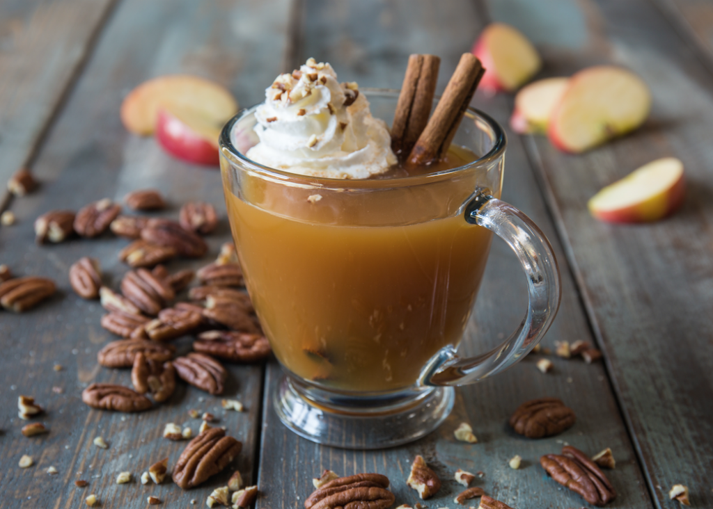 Warm Vanilla Cider With Toasted Pecans