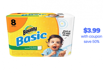 Bounty Basic 8 Pack Paper Towels Just $3.99 With New Bounty Coupons (Save 50%)