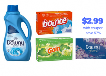 Bounce, Downy and Gain Fabric Softeners Just $2.99 With Sale and Coupon