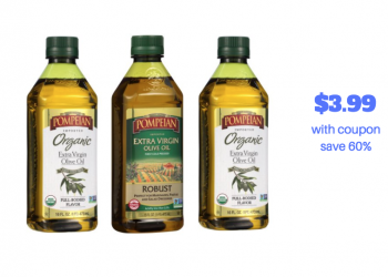 Pompeian Coupon, Only $3.99 for Organic or Extra Virgin Olive Oil