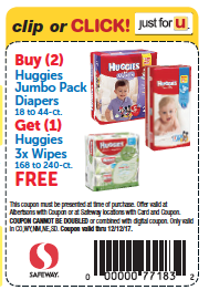 Free Huggies Wipes at Safeway