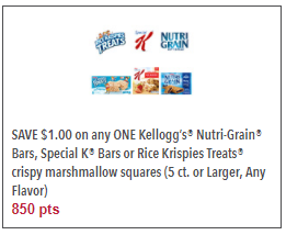 Kellogg's Bars Coupon – $0.99 for Special K or $1.50 for Rice Krispies Treats