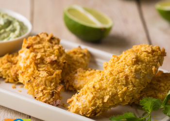 Corn Chip Chicken With Cilantro Dipping Sauce