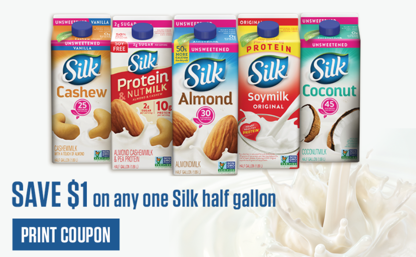 With a wide range of flavors in soy milk, almond milk, coconut milk and other creamers and mixers, they have something to meet any taste and dietary need. Whether you use it with select recipes or pour it on your cereal every morning, make sure you're getting the best price shopping with these Silk coupons.